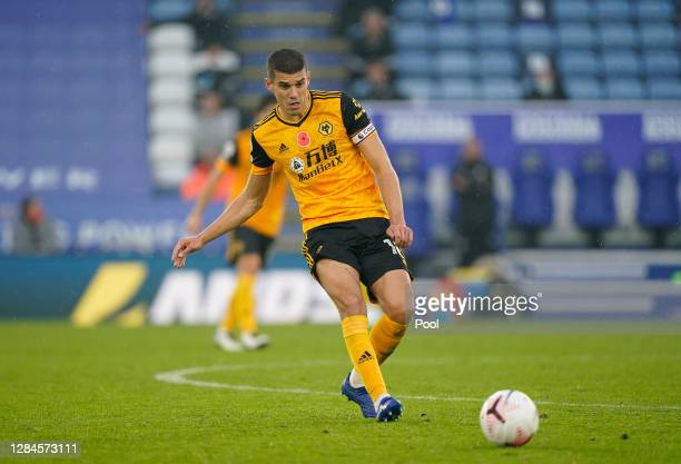 Conor Coady of Wolverhampton Wanderers in action during the Premier League match between Leicester City and Wolverhampton Wanderers at The King Power...