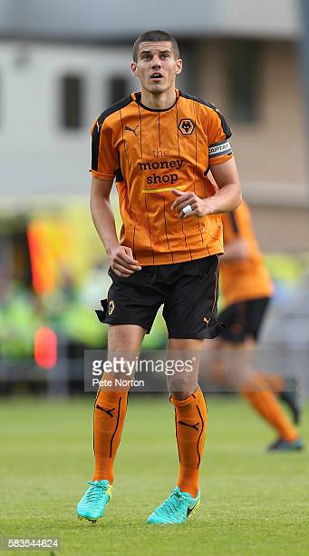 Conor Coady of Wolverhampton Wanderers in action during the PreSeason Friendly match between Northampton Town and Wolverhampton Wanderers at...