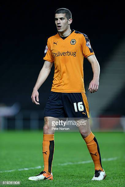 Conor Coady of Wolverhampton Wanderers in action during the Sky Bet Championship match between Milton Keynes Dons and Wolverhampton Wanderers at...