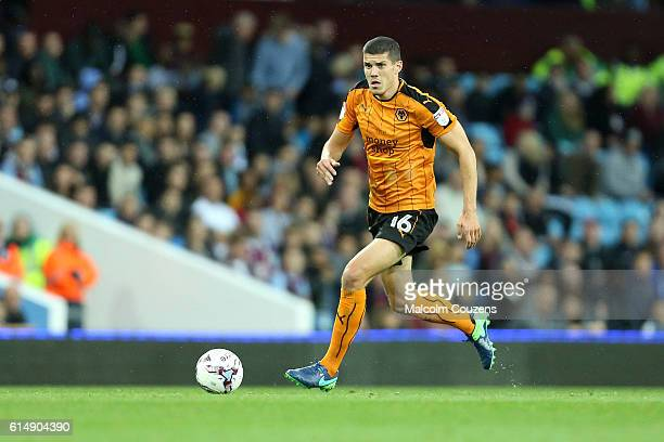 Conor Coady of Wolverhampton Wanderers in action during the Sky Bet Championship match between Aston Villa and Wolverhampton Wanderers on October 15...