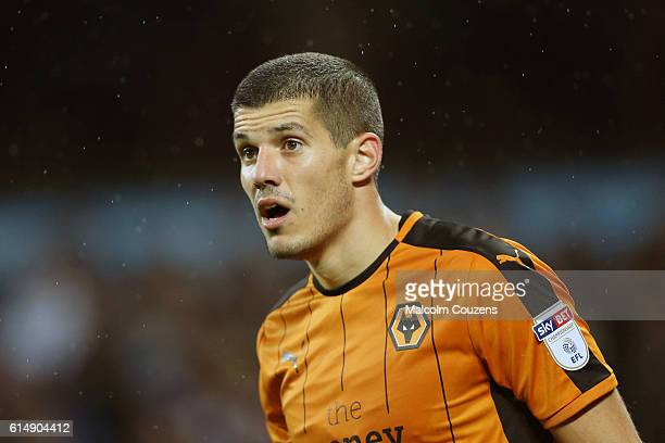 Conor Coady of Wolverhampton Wanderers looks on during the Sky Bet Championship match between Aston Villa and Wolverhampton Wanderers on October 15...