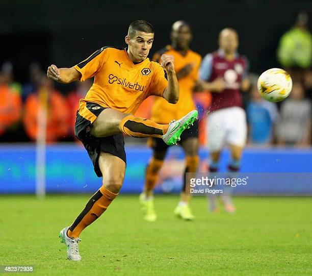 Conor Coady of Wolverhampton Wanderers passes the ball during the pre season friendly between Wolverhampton Wanderers and Aston Villa at Molineux on...