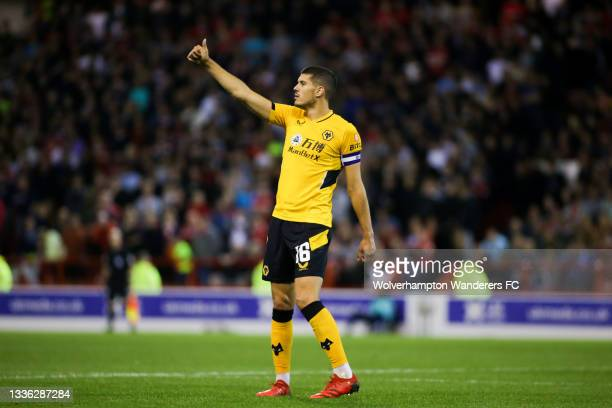 Conor Coady of Wolverhampton Wanderers reacts during the Carabao Cup Second Round match between Nottingham Forest and Wolverhampton Wanderers at City...