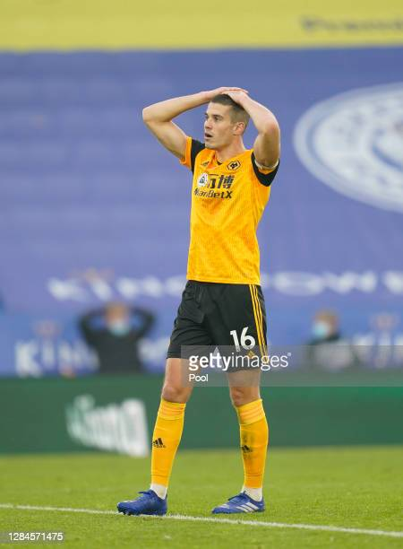 Conor Coady of Wolverhampton Wanderers reacts during the Premier League match between Leicester City and Wolverhampton Wanderers at The King Power...