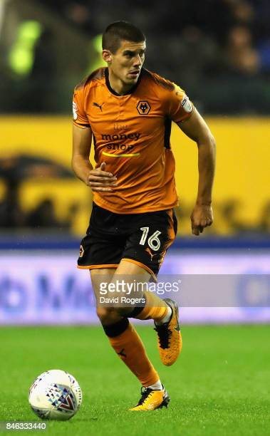 Conor Coady of Wolverhampton Wanderers runs with the ball during the Sky Bet Championship match between Wolverhampton Wanderers and Bristol City at...