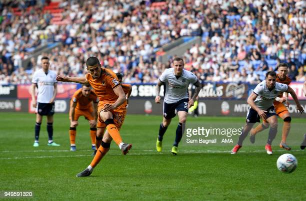 Conor Coady of Wolverhampton Wanderers scores a goal to make it 04 from a penalty kick during the Sky Bet Championship match between Bolton Wanderers...