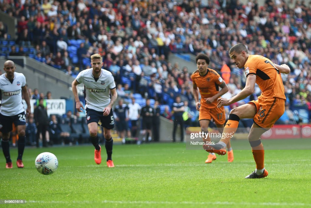 Conor Coady of Wolverhampton Wanderers scores a penalty during the Sky Bet Championship match between Bolton Wanderers and Wolverhampton Wanderers at Macron Stadium on April 21, 2018 in Bolton, England.