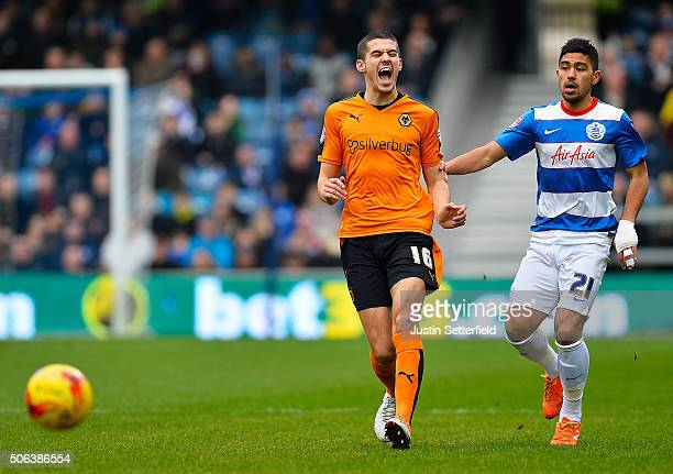 Conor Coady of Wolverhampton Wanderers shows his frustration with Massimo Luongo of Queens Park Rangers during the Sky Bet Championship match between...