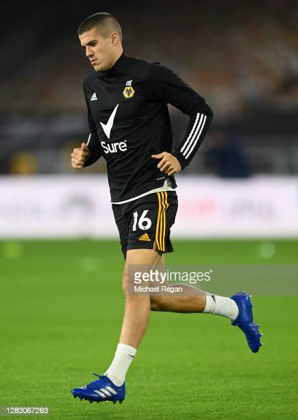Conor Coady of Wolverhampton Wanderers warms up prior to the Premier League match between Wolverhampton Wanderers and Crystal Palace at Molineux on...