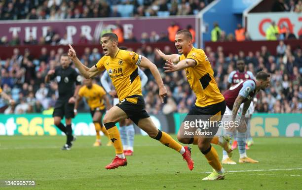 Conor Coady of Wolves celebrates after scoring their second goal during the Premier League match between Aston Villa and Wolverhampton Wanderers at...