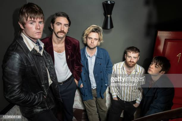 Conor Curley, Carlos O'Connell, Conor Deegan III, Tom Coll and Grian Chatten of Irish rock band Fontaines DC pose for a photo in Paris on October 6,...