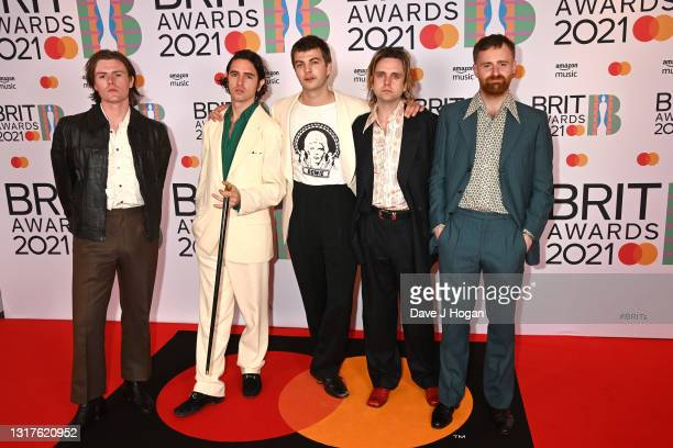 Conor Curley, Carlos O'Connell, Grian Chatten, Conor Deegan and Tom Coll of Fontaines DC attends The BRIT Awards 2021 at The O2 Arena on May 11, 2021...
