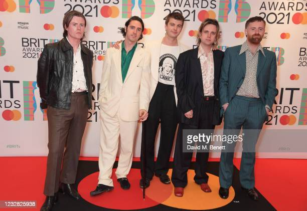 Conor Curley, Carlos O'Connell, Grian Chatten, Conor Deegan III and Tom Coll of Fontaines D.C. Arrive at The BRIT Awards 2021 at The O2 Arena on May...