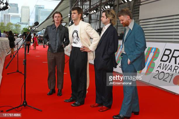 Conor Curley, Carlos O'Connell , Grian Chatten, Conor Deegan III and Tom Coll of Fontaines DC arrive at The BRIT Awards 2021 at The O2 Arena on May...