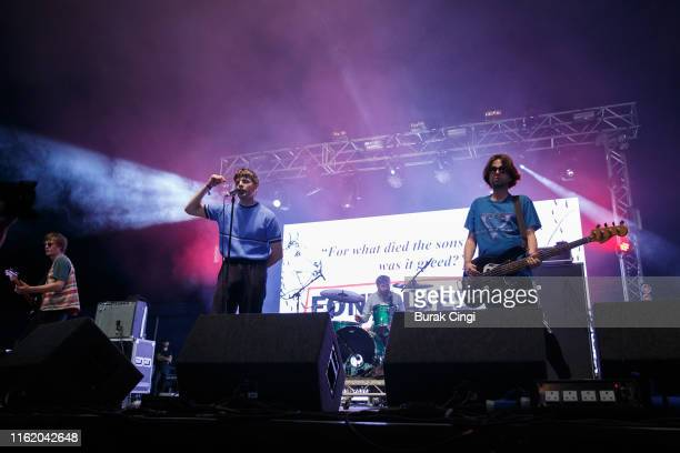 Conor Curley, Grian Chatten, Tom Coll and Conor Deegan III of Fontaines DC perform at Citadel Festival at Gunnersbury Park on July 14, 2019 in...