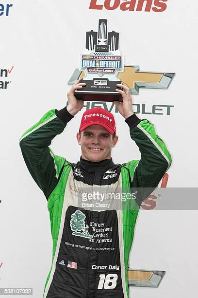Conor Daly celebrates his second place finish after the Chevrolet Detroit Belle Isle Grand Prix IndyCar race at The Raceway on Belle Isle on June 4...