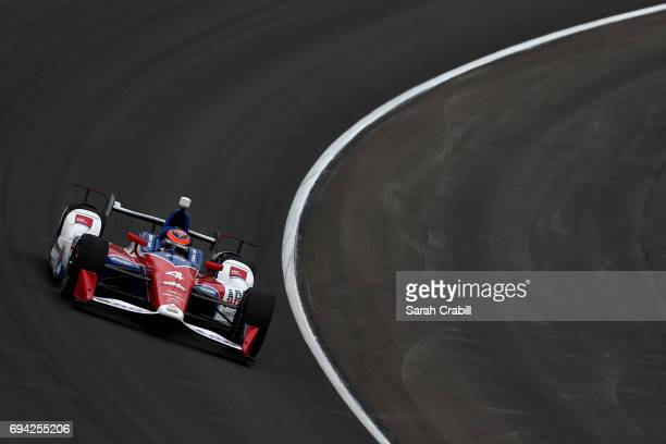 Conor Daly driver of the ABC Supply AJ Foyt Racing Chevrolet practices for the Verizon IndyCar Series Rainguard Water Sealers 600 at Texas Motor...