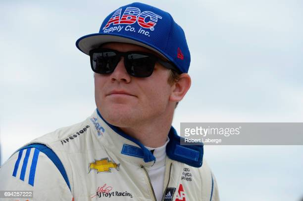 Conor Daly driver of the ABC Supply AJ Foyt Racing Chevrolet looks on during practice for the Verizon IndyCar Series Rainguard Water Sealers 600 at...