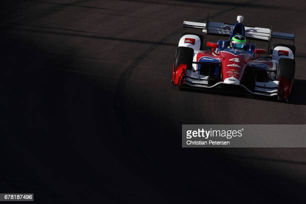Conor Daly driver of the AJ Foyt Enterprises Chevrolet drives during practice for the Desert Diamond West Valley Phoenix Grand Prix at Phoenix...