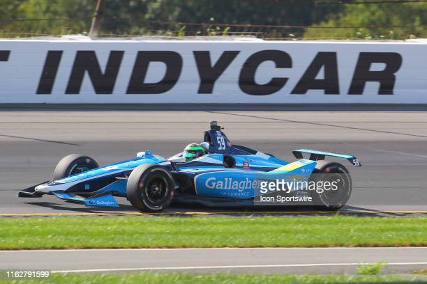 Conor Daly driver of the Gallagher Carlin Chevrolet drives during the IndyCar Series ABC Supply 500 on August 18 2019 at Pocono Raceway in Long Pond...