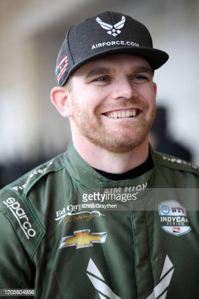 Conor Daly driver of the US Air Force Chevrolet stands in the garage area at Circuit of The Americas on February 11 2020 in Austin Texas
