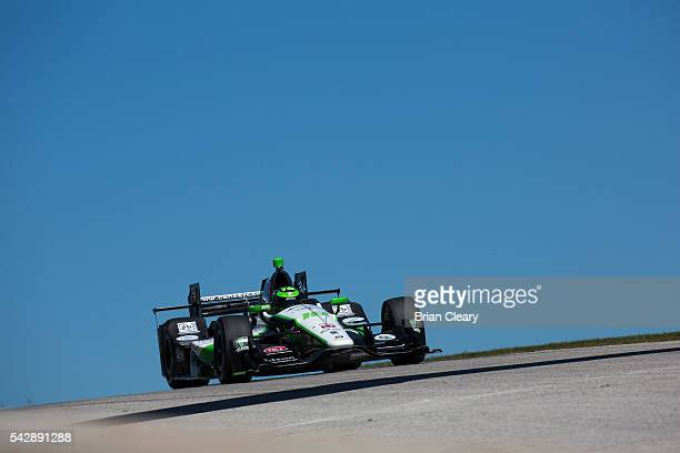 Conor Daly drives the Honda IndyCar on the track during practice for the Verizon IndyCar Series KOHLER Grand Prix at Road America on June 24 2016 in...