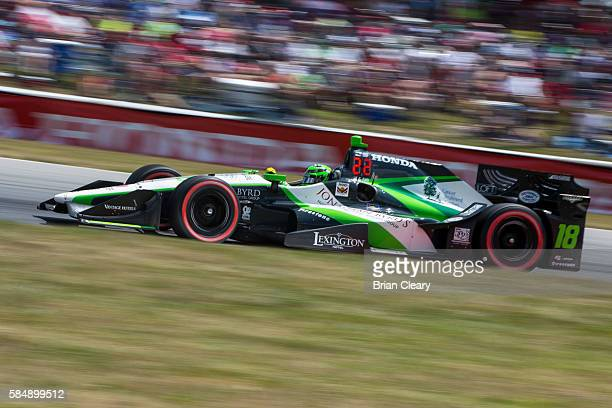 Conor Daly drives the Honda IndyCar on the track during the Honda Indy 200 at MidOhio Sports Car Course on July 31 2016 in Lexington United States