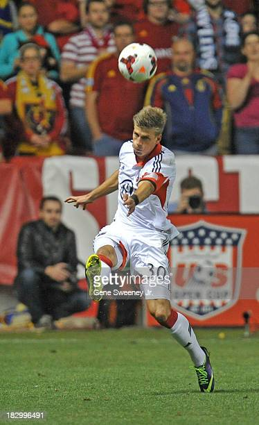 Conor Doyle of DC United heads the ball against Real Salt Lake during the 2013 US Open Cup Final at Rio Tinto Stadium October 1 2013 in Sandy Utah