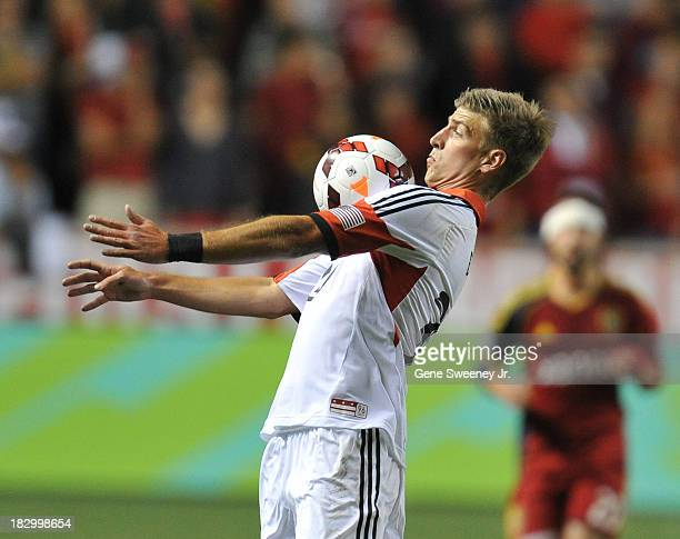 Conor Doyle of DC United receives a pass on his chest against Real Salt Lake during the 2013 US Open Cup Final at Rio Tinto Stadium October 1 2013 in...