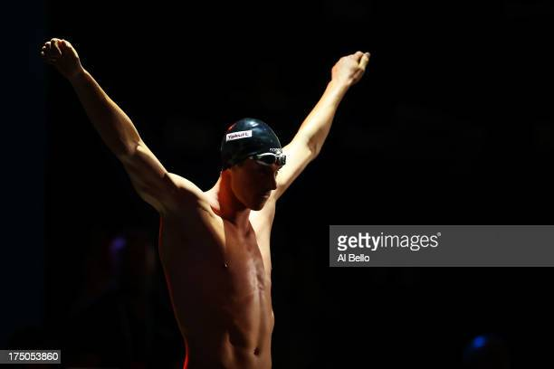 Conor Dwyer of the USA prepares for the Swimming Men's 200m Freestyle Final on day eleven of the 15th FINA World Championships at Palau Sant Jordi on...