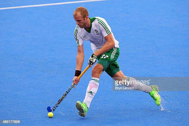 Conor Fulton of Ireland in action during the match between Belgium and Ireland on day five of the Unibet EuroHockey Championships at Lee Valley...