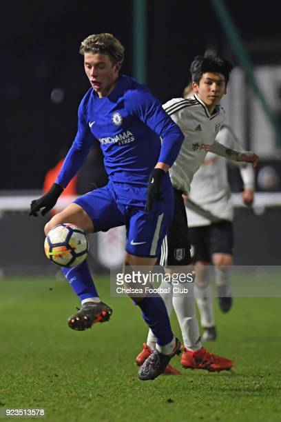 Conor Gallagher of Chelsea during the Fulham and Chelsea U18 Premier League match at Motspur Park on February 23 2018 in New Malden England