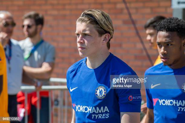 Conor Gallagher of Chelsea FC looks on during the semifinal football match between Chelsea FC and FC Porto of UEFA Youth League at Colovray Sports...