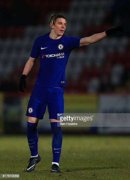 Conor Gallagher of Chelsea gives instructions during the FA Youth Cup match between Tottenham Hotspur and Chelsea at The Lamex Stadium on February 13...