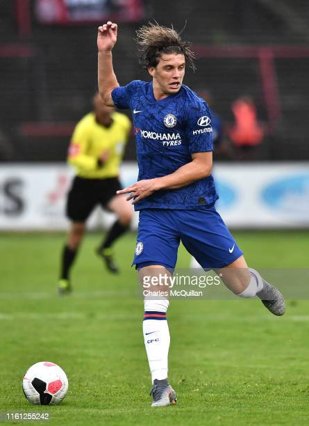 Conor Gallagher of Chelsea in action during the PreSeason Friendly match between Bohemians FC and Chelsea FC at Dalymount Park on July 10 2019 in...