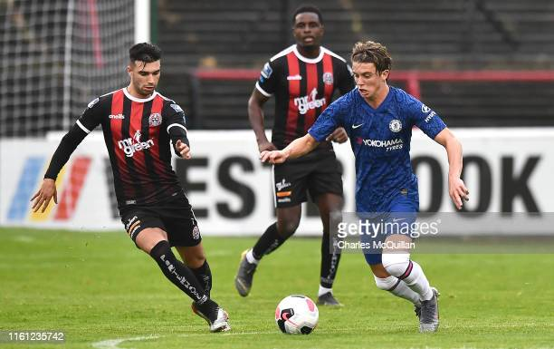Conor Gallagher of Chelsea runs with the ball during the PreSeason Friendly match between Bohemians FC and Chelsea FC at Dalymount Park on July 10...