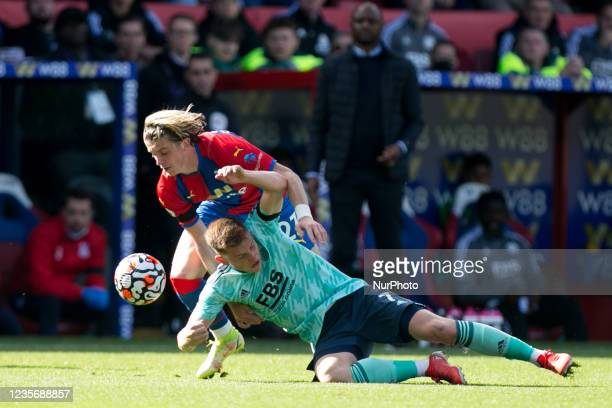 Conor Gallagher of Crystal Palace and Harvey Barnes of Leicester battle for the ball during the Premier League match between Crystal Palace and...