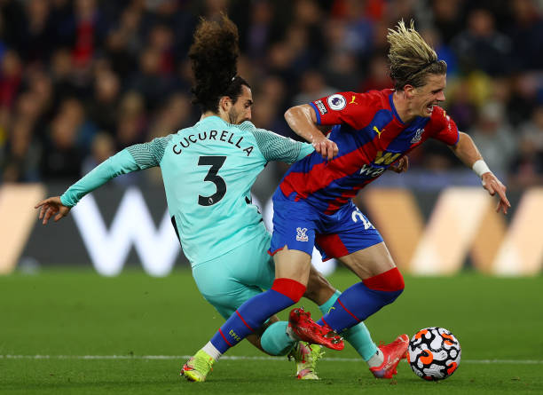 Conor Gallagher of Crystal Palace is tackled by Marc Cucurella of Brighton & Hove Albion during the Premier League match between Crystal Palace and...