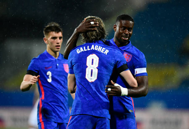 Conor Gallagher of England celebrates with team mates after scoring their side's first goal during the UEFA Euro U21 Qualifying match between...