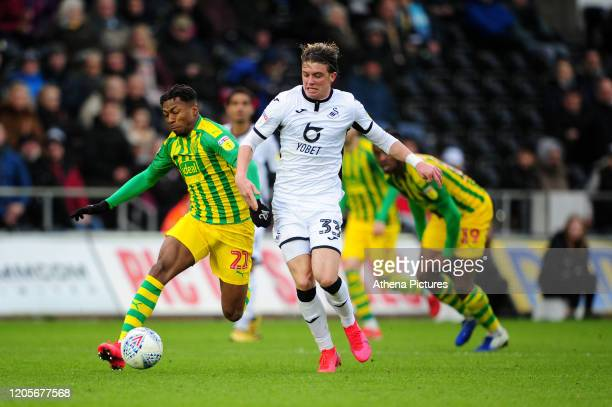 Conor Gallagher of Swansea City in action during the Sky Bet Championship match between Swansea City and West Bromwich Albion at the Liberty Stadium...