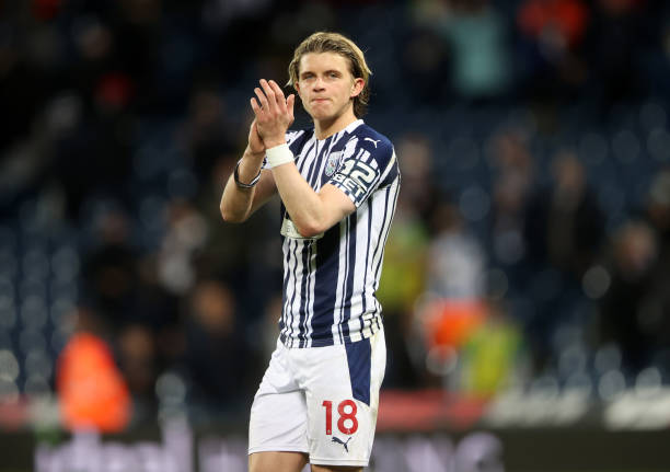 Conor Gallagher of West Bromwich Albion applauds fans following the Premier League match between West Bromwich Albion and West Ham United at The...