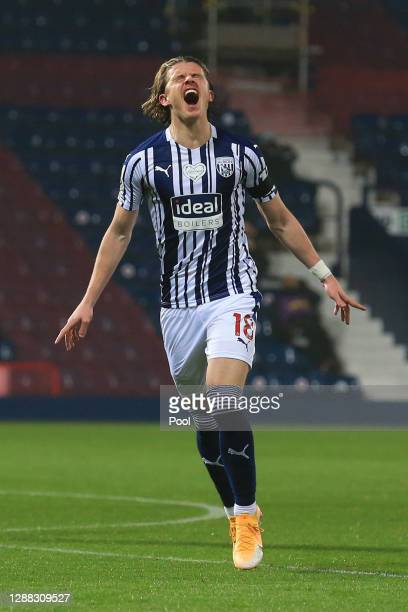 Conor Gallagher of West Bromwich Albion celebrates after scoring his team's first goal during the Premier League match between West Bromwich Albion...