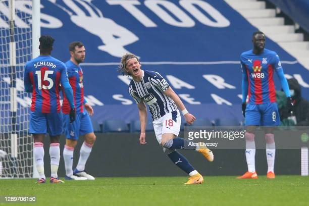 Conor Gallagher of West Bromwich Albion celebrates after scoring their team's first goal during the Premier League match between West Bromwich Albion...