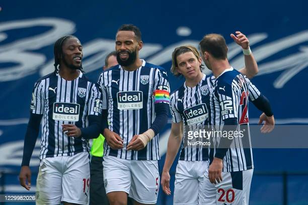 Conor Gallagher of West Bromwich Albion celebrates scoring his sides goal with team mates during the Premier League match between West Bromwich...