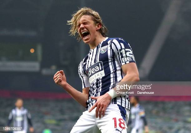 Conor Gallagher of West Bromwich Albion celebrates scoring his teams first goal during the Premier League match between West Bromwich Albion and...