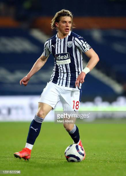 Conor Gallagher of West Bromwich Albion during the Premier League match between West Bromwich Albion and Everton at The Hawthorns on March 4, 2021 in...