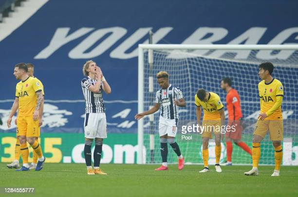 Conor Gallagher of West Bromwich Albion reacts after missing a chance during the Premier League match between West Bromwich Albion and Tottenham...