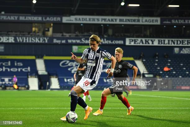 Conor Gallagher of West Bromwich Albion runs with the ball during the Carabao Cup Third Round match between West Bromwich Albion and Brentford FC at...