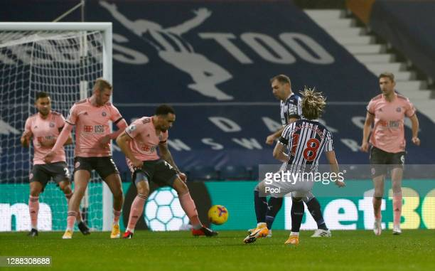 Conor Gallagher of West Bromwich Albion scores his team's first goal during the Premier League match between West Bromwich Albion and Sheffield...