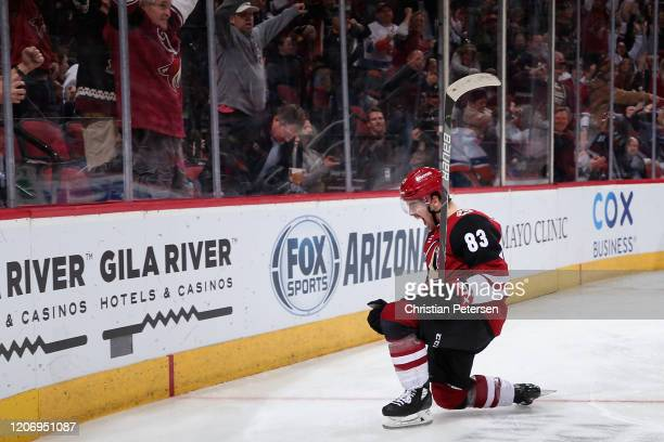 Conor Garland of the Arizona Coyotes celebrates after scoring a goal against the New York Islanders during the third period of the NHL game at Gila...